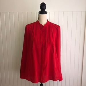 J. Crew pin tucked crepe long sleeve red blouse